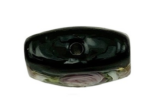Black Fiorato Vela Square with Roses and White Piping 13MM