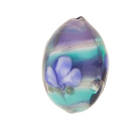 Murano Glass Tricolored Oval Blue and Aqua Layers with Flower Motif 20MM