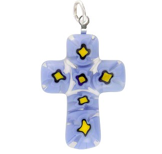 Blue and Yellow Murano Glass Millefiori Cross 31MM to 40MM