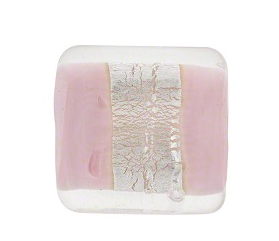 Murano Glass Lilac Incalmo Rectangle Silver Foil Band 18MM