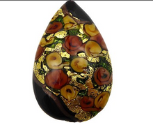 Load image into Gallery viewer, Murano Glass Bead Bed of Roses Exterior Gold Foil Flat Teardrop 40mm Black