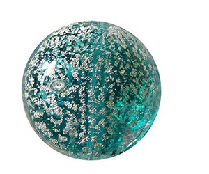 Teal and Silver Coin Murano Glass Bead 14MM
