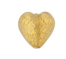 Murano Glass Gold Foil Heart 12MM