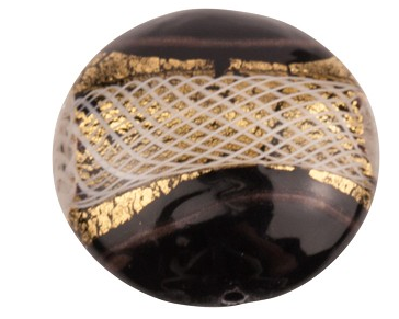 Large Opaque Black Disc with Gold and White 41MM