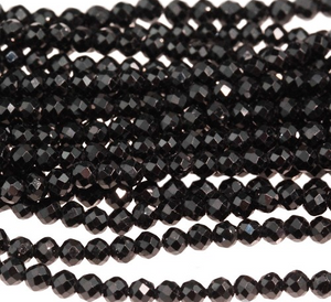 Black Spinel Diamond Cut 2MM Faceted Round 15-16""