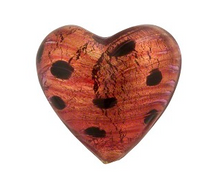 Load image into Gallery viewer, Murano Glass Rubino Gold Foil Leopard Print Heart 20mm