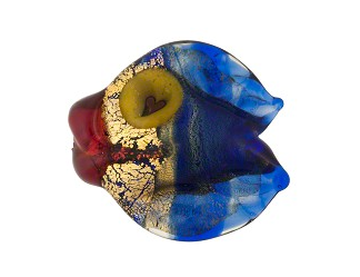 Venetian Foil Cobalt Puffy Gold Fish Glass Bead, 20MM