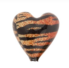 Murano Glass Topaz and Black Tiger Sparkle Heart, 16MM