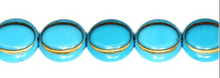 Load image into Gallery viewer, Turquoise / Gold Eskooko Coin Beads, Czech 16MM