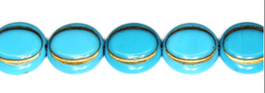 Turquoise / Gold Eskooko Coin Beads, Czech 16MM