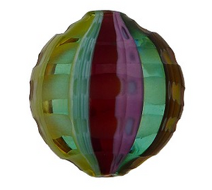 Mouth Blown Murano Sculpted Penny Glass Bead, Rainbow, 20MM