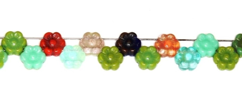 Czech Pressed Glass Small Flat Flower Bead