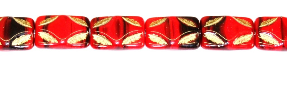 Red and Black Picasso Rectangle Czech Glass Beads