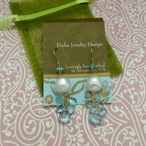 Swiss Blue Topaz and Pearl Earrings