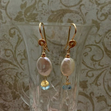 Load image into Gallery viewer, Coin Pearl and Topaz Earrings