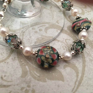 Lampwork Glass and Freshwater Pearl Bracelet