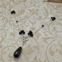Load image into Gallery viewer, Black Garnet Necklace in Sterling Silver