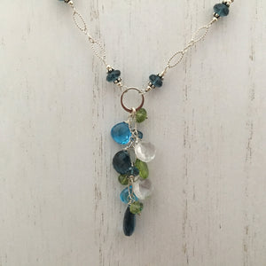 London and Swiss Blue Topaz Dangle Necklace