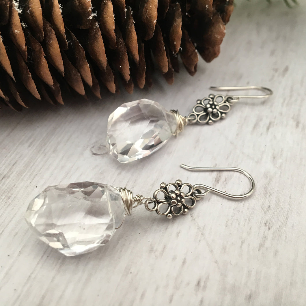 Crystal Quartz Nugget Earrings