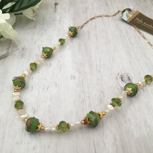 Wedding Cake Necklace and Peridot Necklace