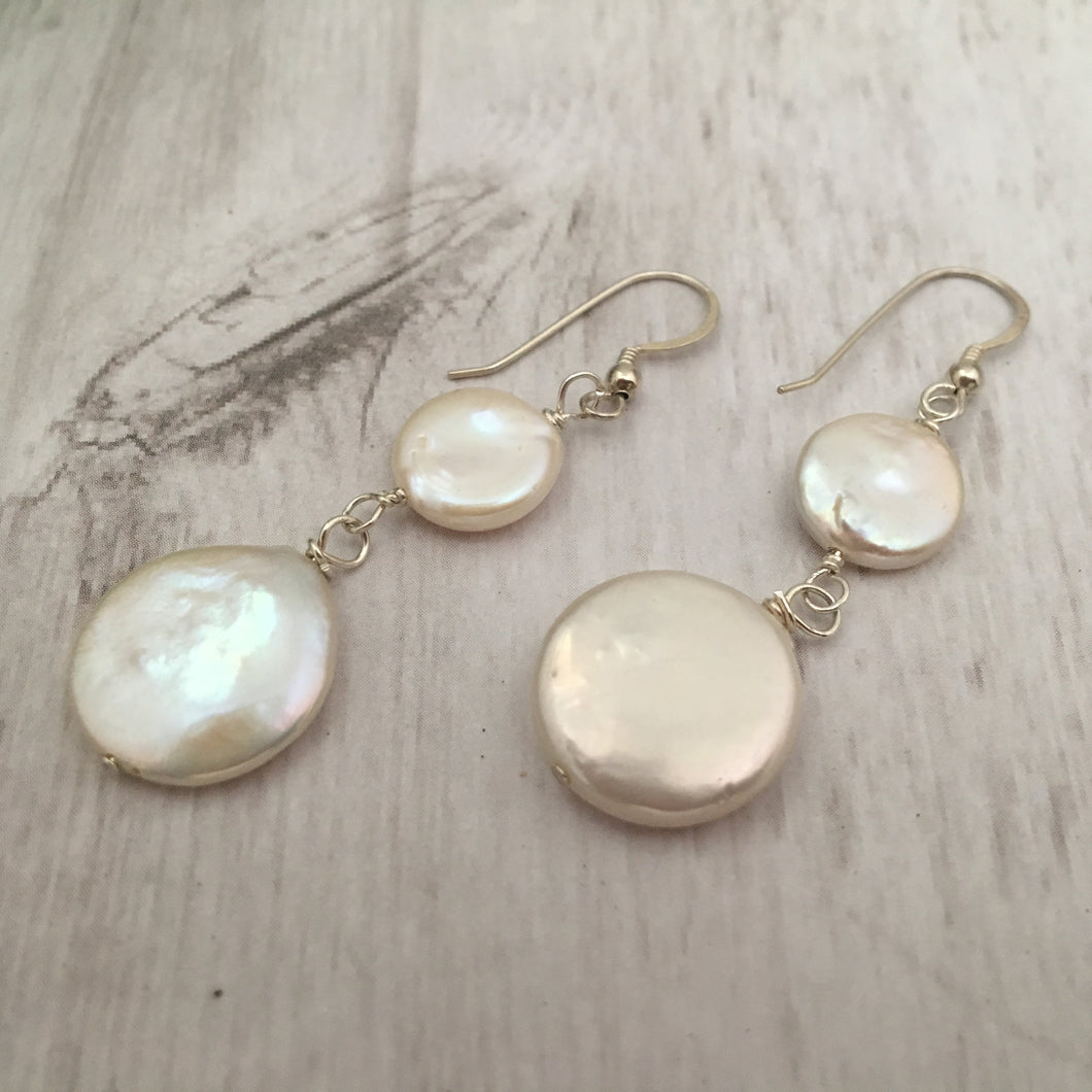 White Coin Pearl Bridal Earrings