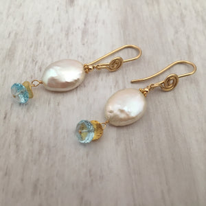 Coin Pearl and Topaz Earrings