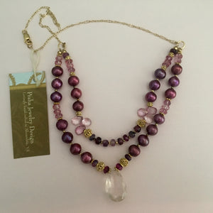 Rose Quartz and Two-Strand Burgundy Pearl Necklace