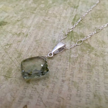 Load image into Gallery viewer, Large Cushion Cut Green Amethyst Necklace