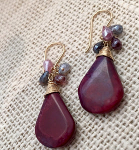 Large Red Jasper and Spinel Earrings