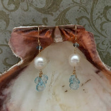 Load image into Gallery viewer, Swiss Blue Topaz and Pearl Earrings