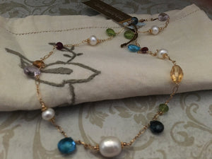 Multi Gemstone and Freshwater Pearl Necklace