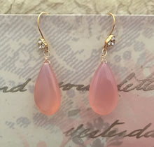 Load image into Gallery viewer, Large Pink Chalcedony Drop Earrings