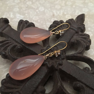 Large Pink Chalcedony Drop Earrings