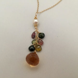 Citrine Onion-Cut Drop Necklace