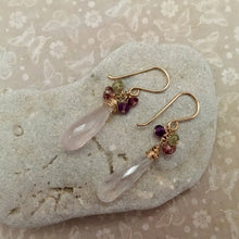 Load image into Gallery viewer, Long Rose Quartz Dangle Chaos Earrings
