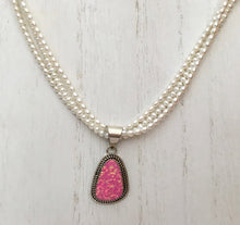 Load image into Gallery viewer, Navajo Pink Opal and Freshwater Pearl Necklace