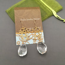 Load image into Gallery viewer, Long Crystal Quartz Nugget Earrings