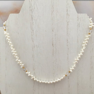 Freshwater Pearl and White Topaz Necklace