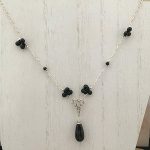 Black Garnet Necklace in Sterling Silver