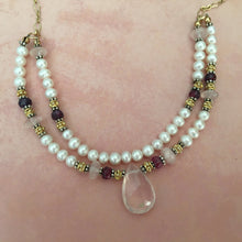 Load image into Gallery viewer, Rose Quartz and Freshwater Pearl Necklace