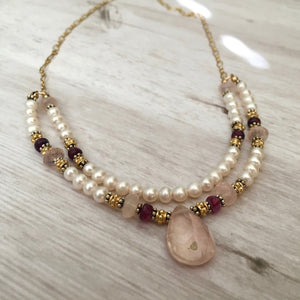 Rose Quartz and Freshwater Pearl Necklace