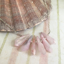 Load image into Gallery viewer, Raw Pink Quartz Point Stone Necklace