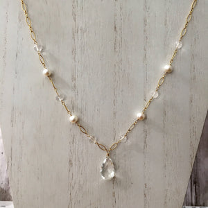 Crystal Quartz and Freshwater Pearl Necklace
