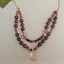 Load image into Gallery viewer, Rose Quartz and Two-Strand Burgundy Pearl Necklace