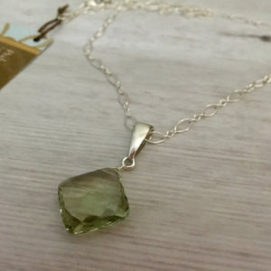 Large Cushion Cut Green Amethyst Necklace
