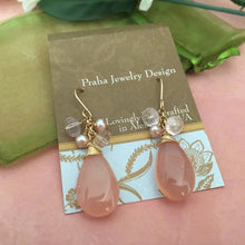Load image into Gallery viewer, Large Pink Drop Chalcedony Earrings