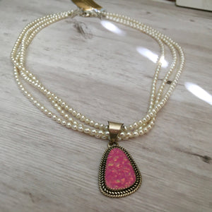 Navajo Pink Opal and Freshwater Pearl Necklace