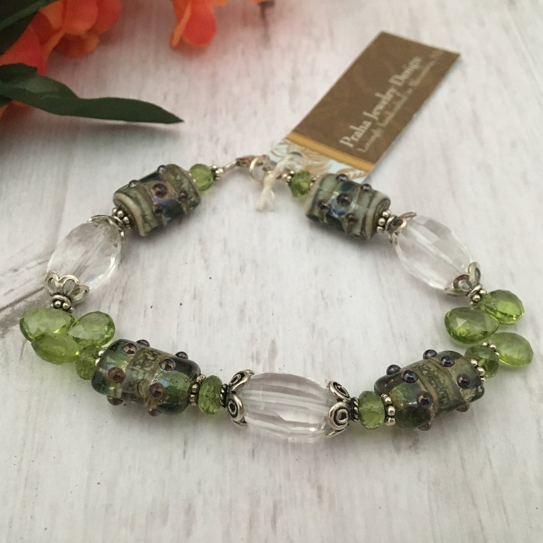 Lampwork Glass Bead Bracelet with Peridot and Crystal Quartz