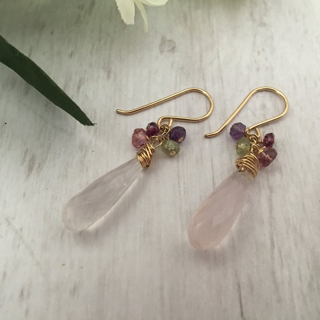 Long Rose Quartz Dangle Chaos Earrings