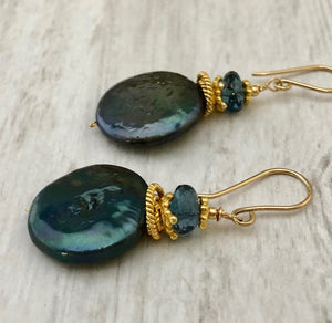 Large Green Coin Pearl Earrings